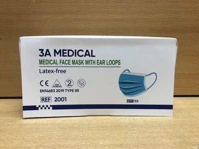 Mondkapjes set medisch blauw 50 dlg.
